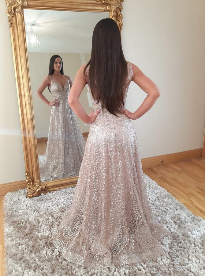 5322a7188e2b Shiny A-line V-neck Sweep Train Tulle Prom Dress with Gold Stamping