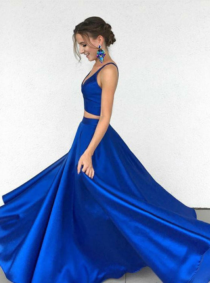 Two Piece V Neck Floor Length Royal Blue Satin Prom Dress