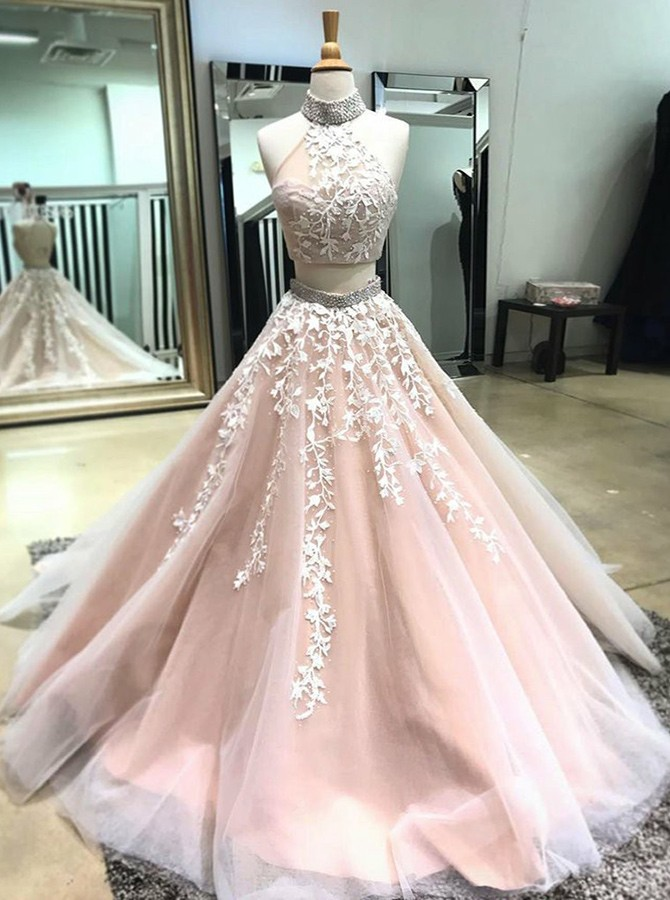 Two Piece High Neck Open Back Light Champagne Prom Dress