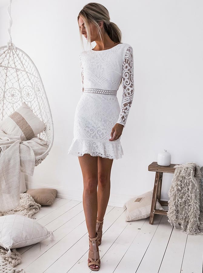 be7035b73aa Sheath Crew Open Back Long Sleeves Short White Lace Homecoming ...