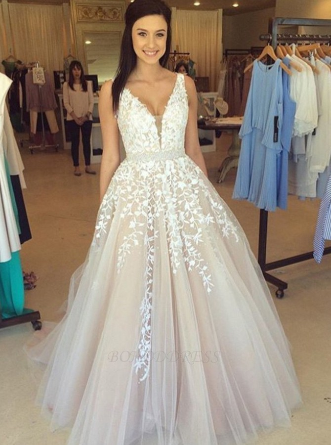 ae0631be7f90 A-Line V-Neck Sweep Train Pink Tulle Prom Dress with Appliques Beading