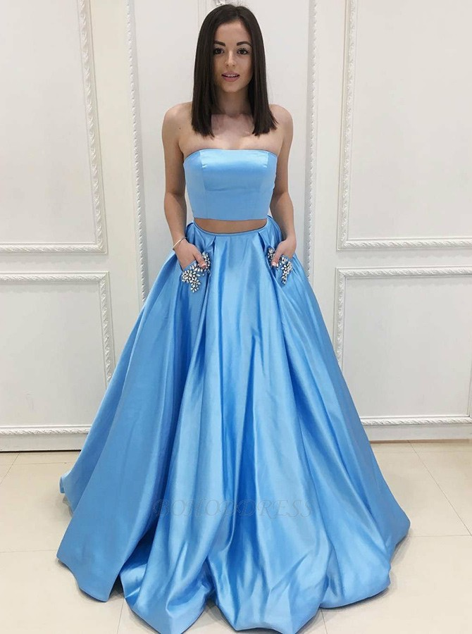 6140c02f0634 Two Piece Strapless Sweep Train Light Blue Prom Dress with Pockets ...