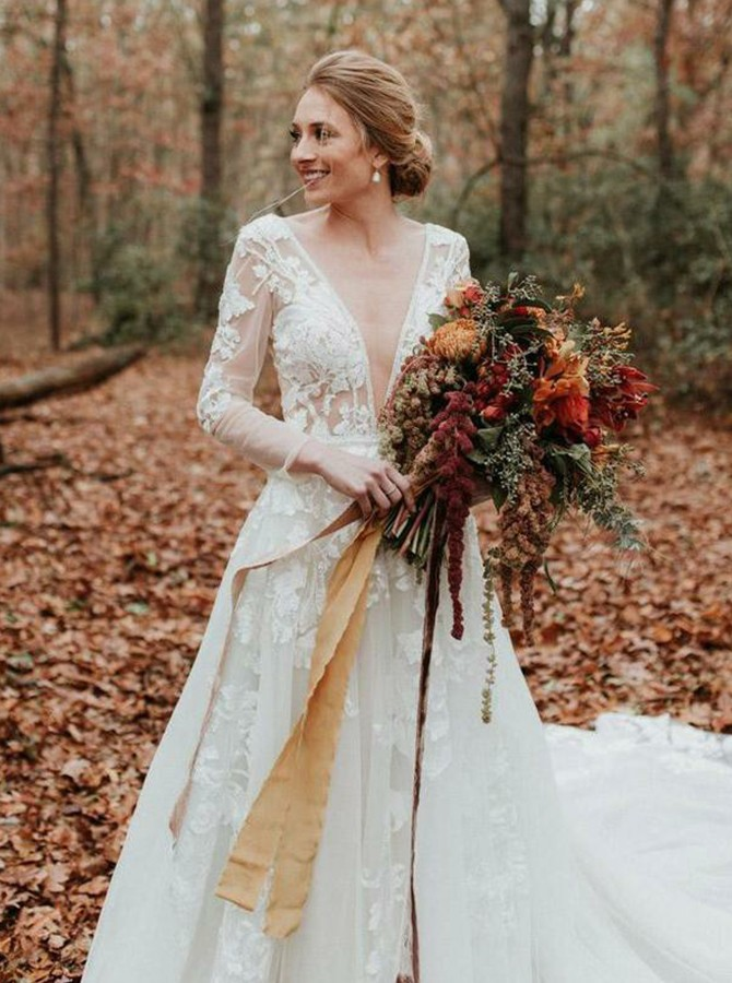 A Line V Neck Court Train Long Sleeves Backless Wedding Dress With