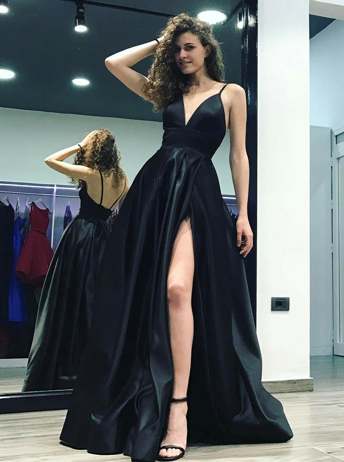 61bf05ebd2 A-Line Spaghetti Sraps Floor-Length Black Satin Prom Dress with Split