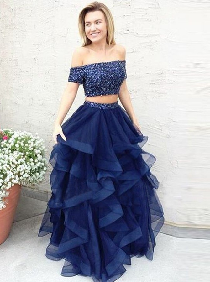 Two Piece Off-the-Shoulder Short Sleeves Blue Prom Dress with ...