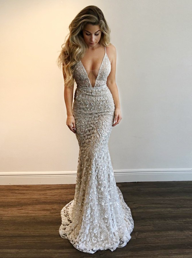 Mermaid Deep V-Neck Backless Sweep Train Silver Lace Prom Dress ... be4f1e56c