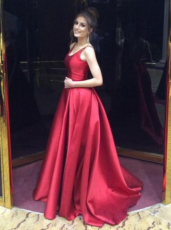34b56a1b19 A-Line Scoop Backless Sweep Train Red Satin Prom Dress with Ruched ...