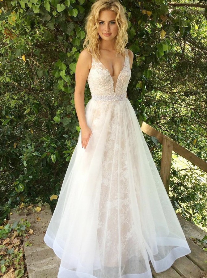 d1b9ca124f48 A-Line V-Neck Backless Floor-Length White Prom Dress with Beading ...