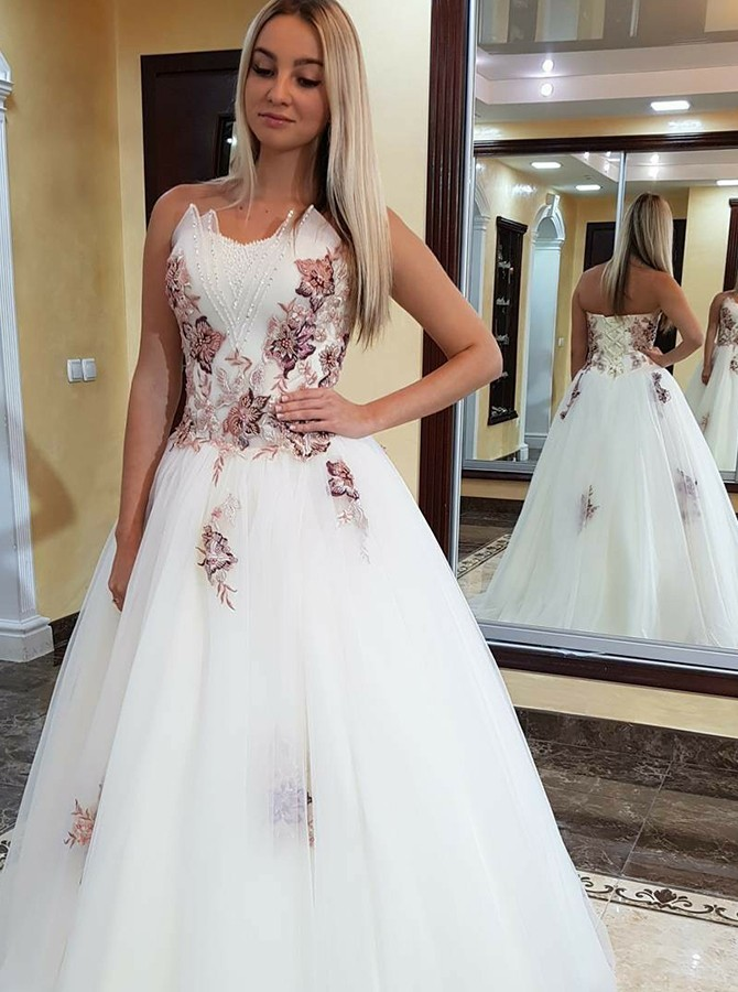 2c8c2a58c2c A-Line Sweetheart Sweep Train White Prom Dress with Appliques Beading