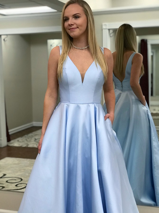 1ca613981d4 A-Line V-Neck Backless Sweep Train Light Blue Prom Dress with Pockets