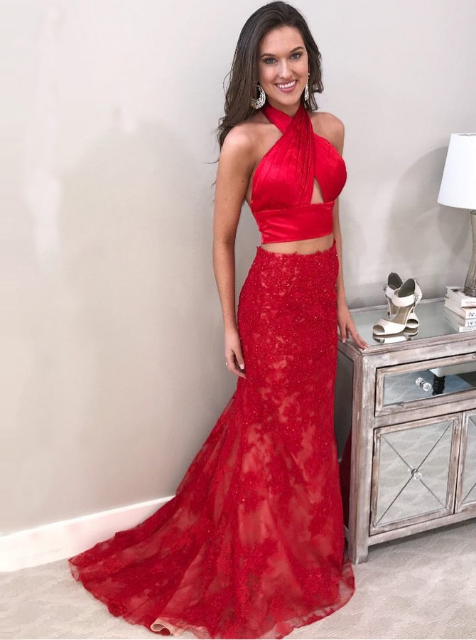 8673462233f Two Piece Halter Backless Sweep Train Red Prom Dress with Beading AU 142.99  - Prom Dresses in Bohoddress.com.