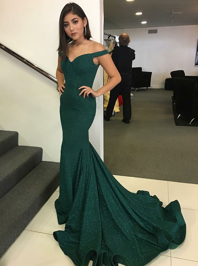 Mermaid Off-the-Shoulder Sweep Train Dark Green Prom Dress with ...
