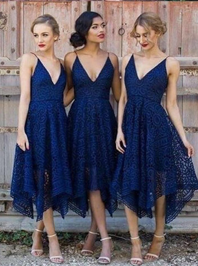 0a0287ad745 A-Line V-Neck Asymmetry Navy Blue Lace Bridesmaid Dress AU 108.99 ...