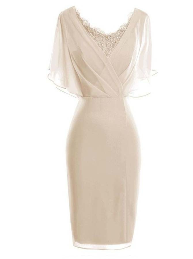 b4551e3c28f Sheath Scoop Short Sleeves Light Champagne Mother of The Bride Dress with  Lace AU 89.99 - Wedding Party in Bohoddress.com.