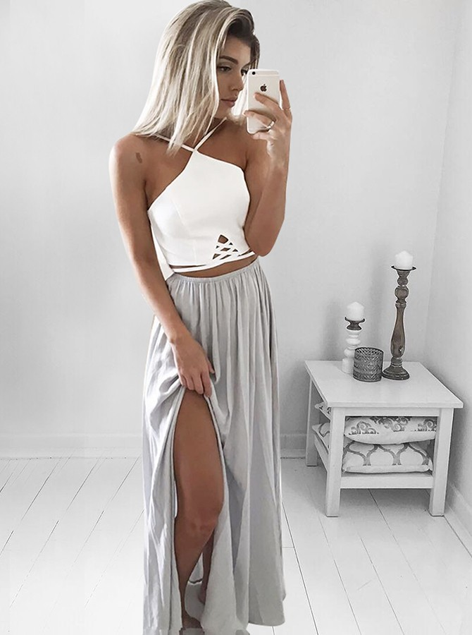 A-Line Spaghetti Straps Backless Long Grey Prom Dress with Split ...