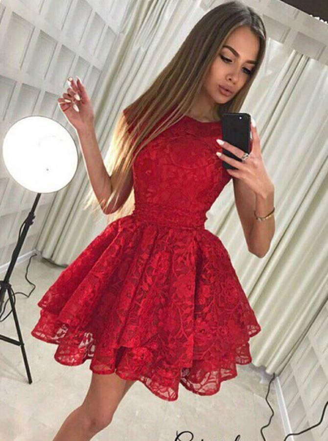 ed495a3b468 A-Line Round Neck Cap Sleeves Short Red Lace Tiered Homecoming Dress with  Bowknot