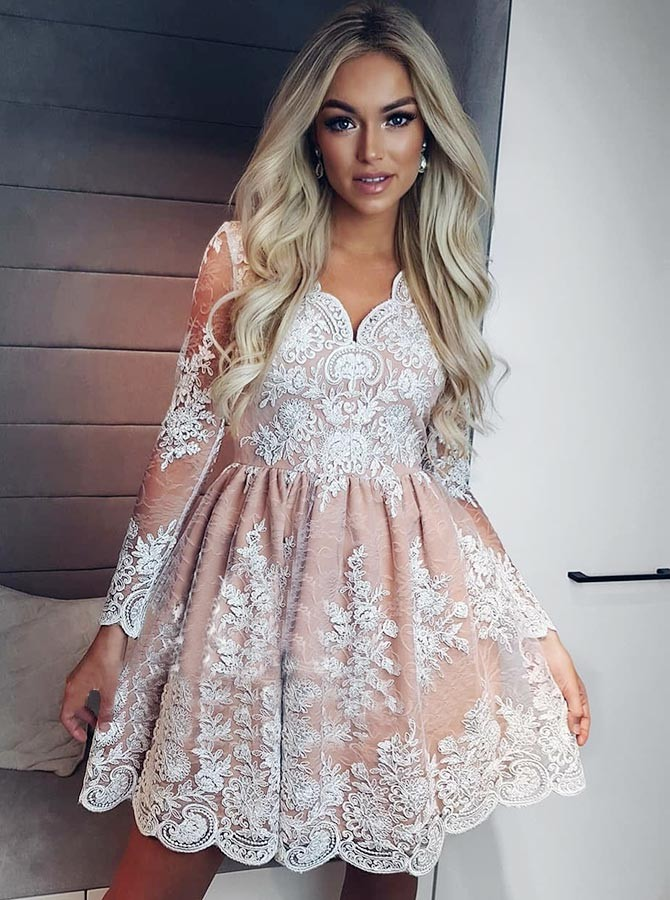 8ae981f3157 A-Line V-Neck Long Sleeves Short Pink Lace Homecoming Dress with Appliques