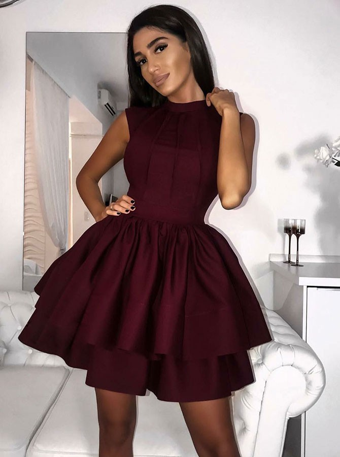 ec67ca2ed55 A Line Jewel Short Burgundy Tiered Satin Homeing Dress With