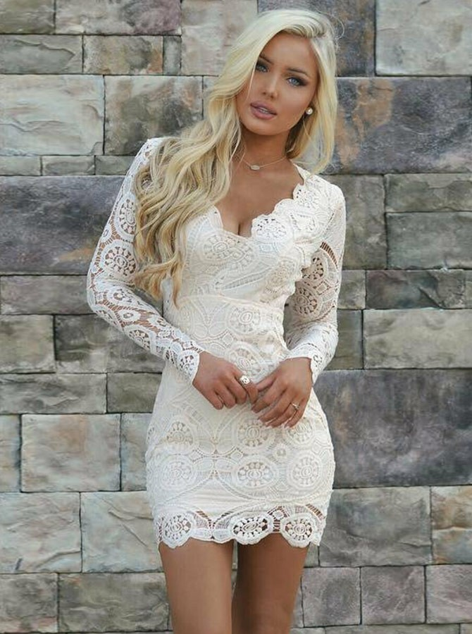 f381410a244 Sheath V-Neck Long Sleeves Open Back Short White Lace Homecoming ...