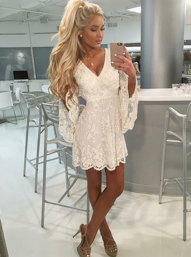 4dc3c850d84 A-Line V-Neck Open Back Bell Sleeves Short White Lace Homecoming Dress