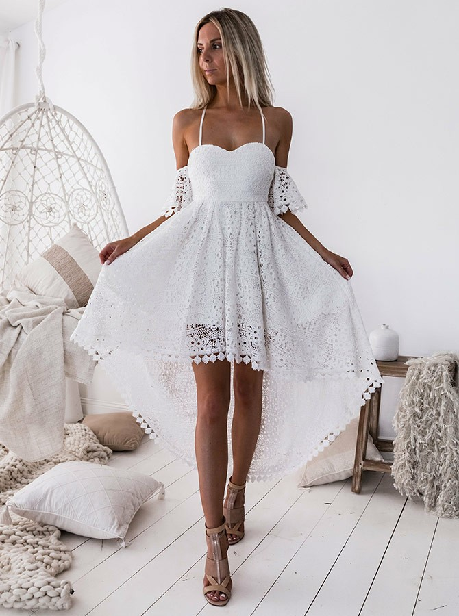 47fcef4d699 A-Line Spaghetti Straps Short Sleeves High Low White Lace Prom Homecoming  Dress
