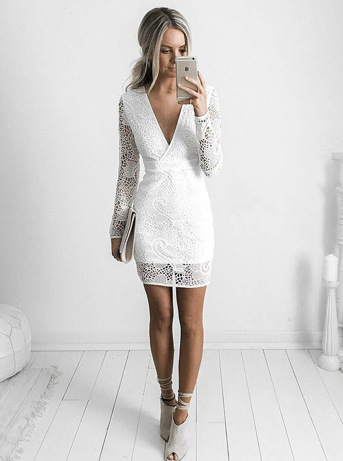 5a679ad681e Sheath V-Neck Long Sleeves Short White Lace Homecoming Cocktail ...