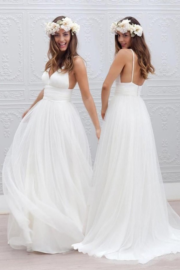 Simple Beach A-Line V-Neck Floor-Length White Wedding Dress