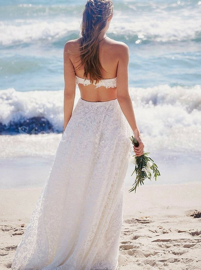 Boho Two Piece Strapless Floor-Length White Backless Lace Wedding Dress