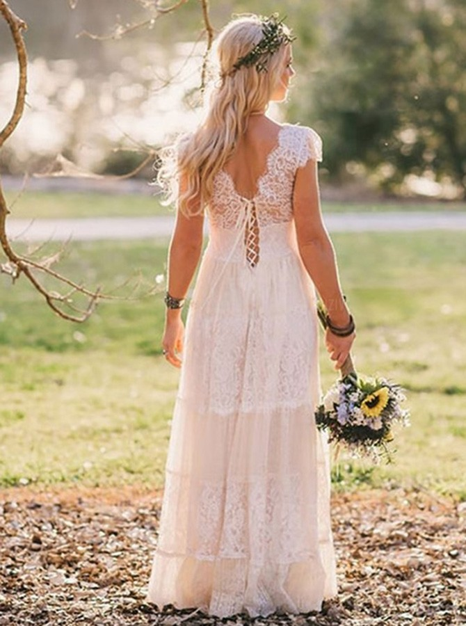 A-Line Scoop Sweep Train Cap Sleeves Lace Beach Wedding Dress