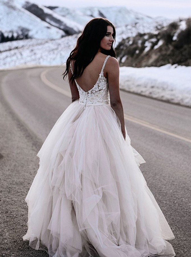 A-Line Spaghetti Straps Backless Asymmetry White Tiered Wedding Dress with Lace