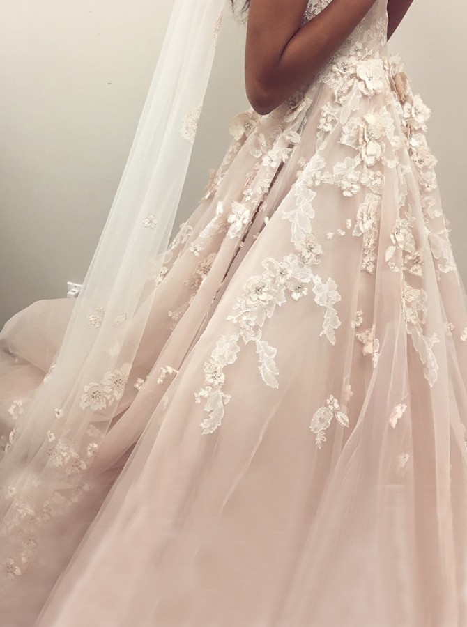 A-Line Spaghetti Straps Backless Court Train Pearl Pink Wedding Dress with Appliques