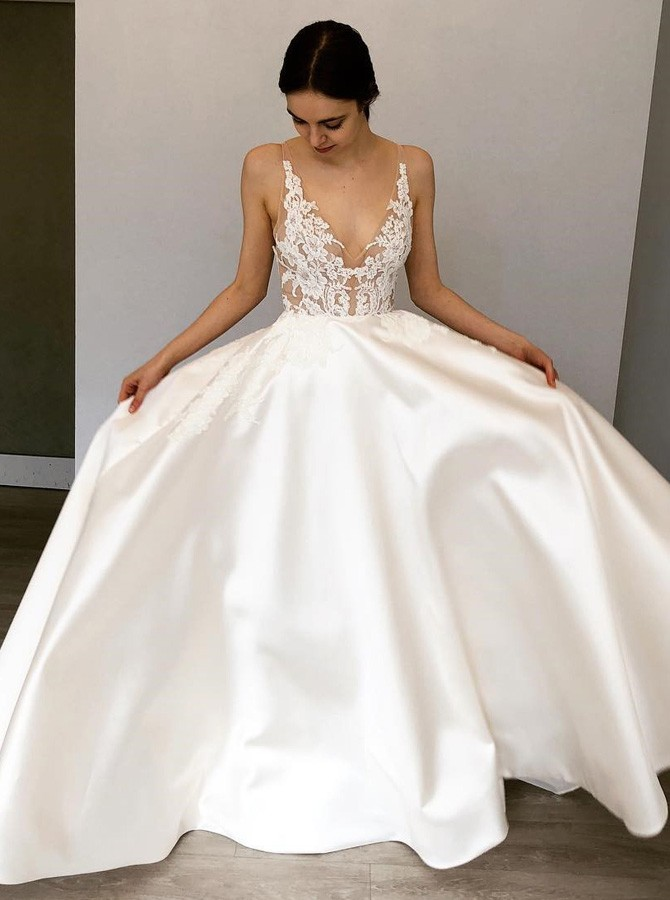 A-Line Deep V-Neck Floor-Length White Satin Wedding Dress with Appliques