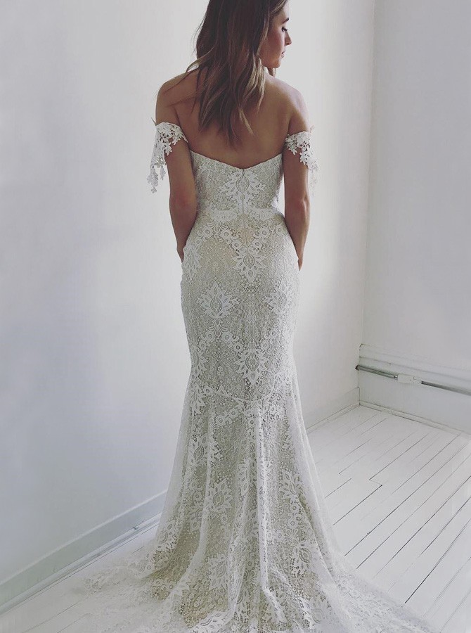 Mermaid Off-the-Shoulder Backless Sweep Train Ivory Lace Wedding Dress