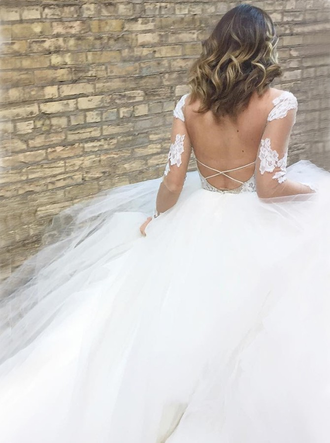 A-Line Bateau Backless Long Sleeves Sweep Train White Wedding Dress with Appliques