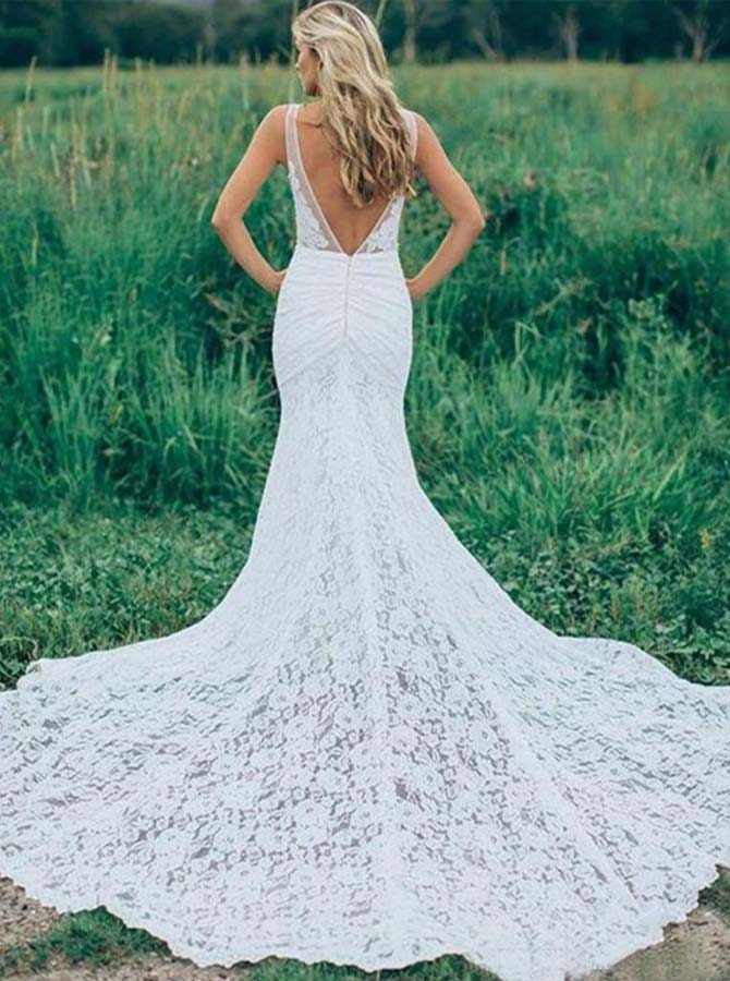 Mermaid Deep V-Neck Backless Sweep Train Lace Wedding Dress with Pockets
