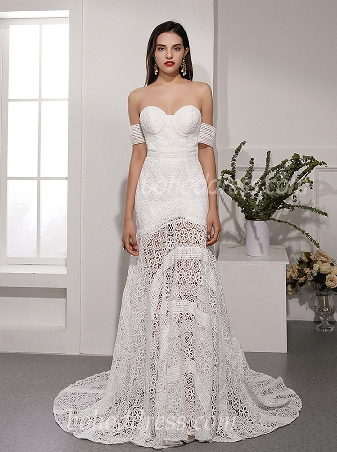 Mermaid Sweetheart Sweep Train Ivory Lace Boho Wedding Dress