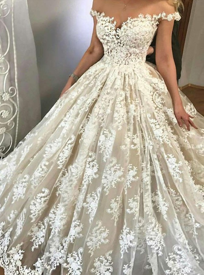 A-Line Off-the-Shoulder Sweep Train Light Champagne Wedding Dress With Appliques