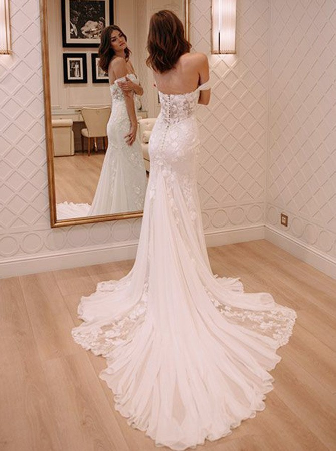 Mermaid Off-the-Shoulder Court Train Wedding Dress with Lace