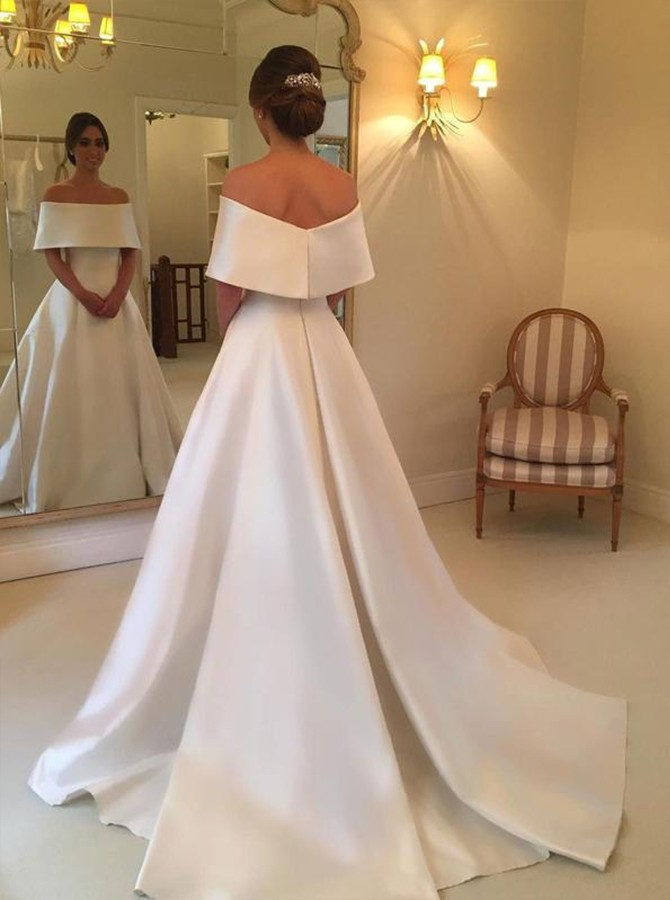 A-line Off-the-Shoulder Court Train White Satin Wedding Dress