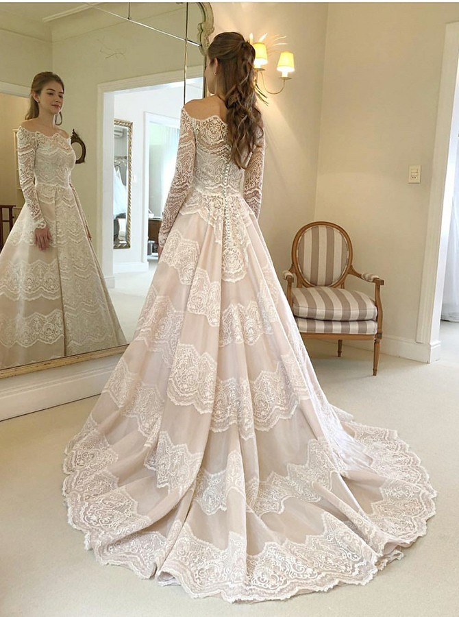 A-Line Off-the-Shoulder Court Train Lace Wedding Dress with Long Sleeves