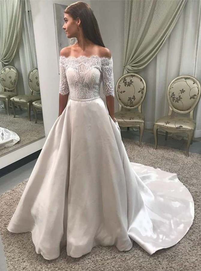 A-Line Off-the-Shoulder Half Sleeves Wedding Dress with Lace Pockets