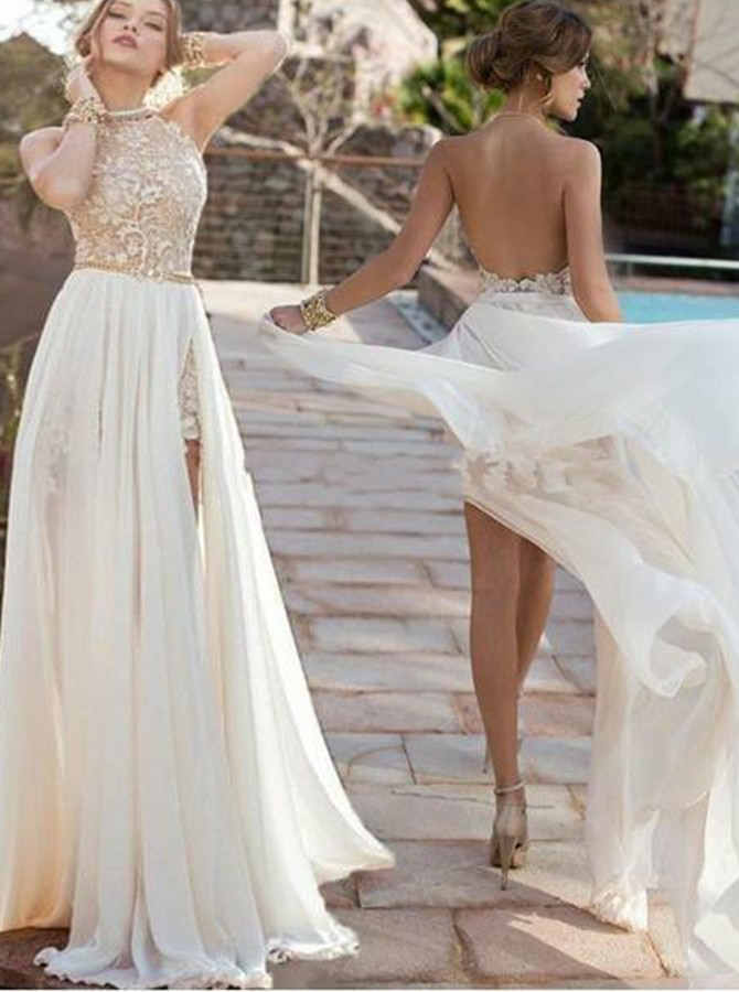 A-line Halter Sweep Train Backless Wedding Dress with Lace Beading Split