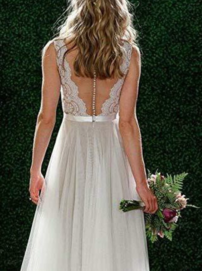 Beach A-line V-Neck Floor-Length Wedding Dress with Lace