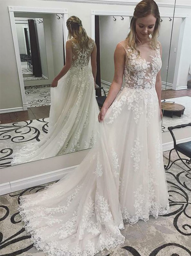 A-Line Illusion Court Train Ivory Wedding Dress with Applique