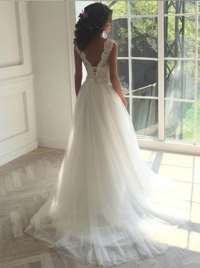 A-line Round Neck Sweep Train Wedding Dress with Lace