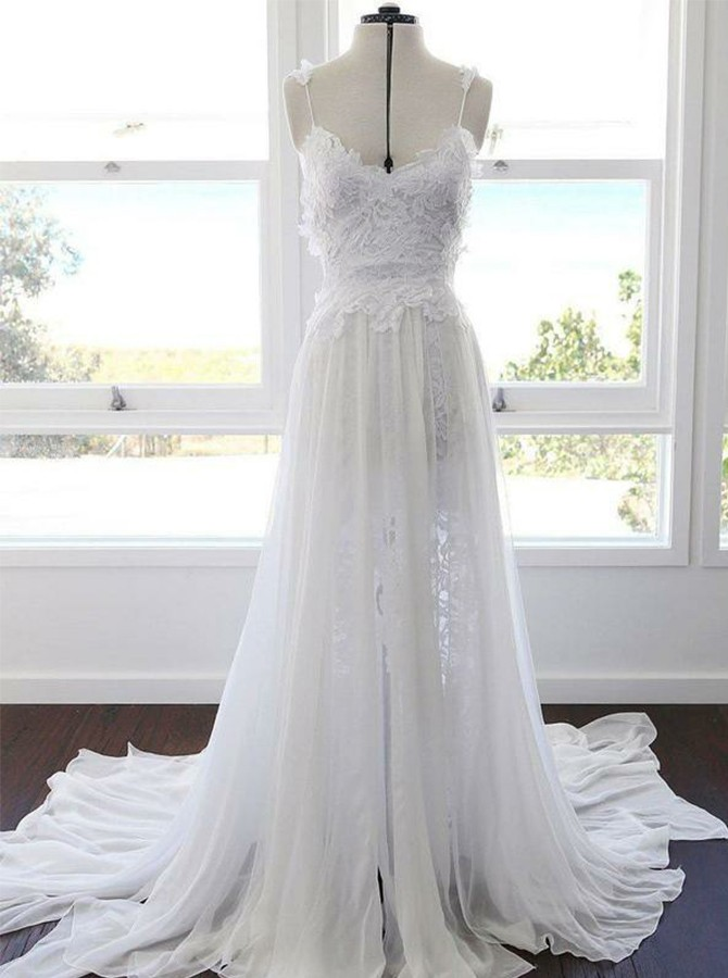 A-line Spaghetti Strap Sweep Train Chiffon Beach Wedding Dress with Lace Split
