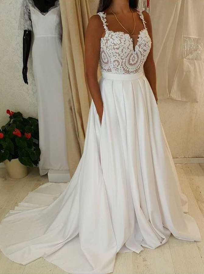 A-line Spaghetti Strap Sweep Train Boho Wedding Dress with Pocket Lace