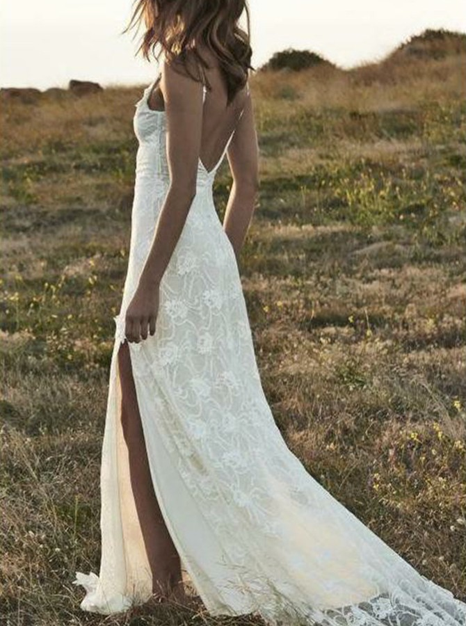 Beach Sheath Spaghetti Straps Court Train Backless Lace Wedding Dress with Split