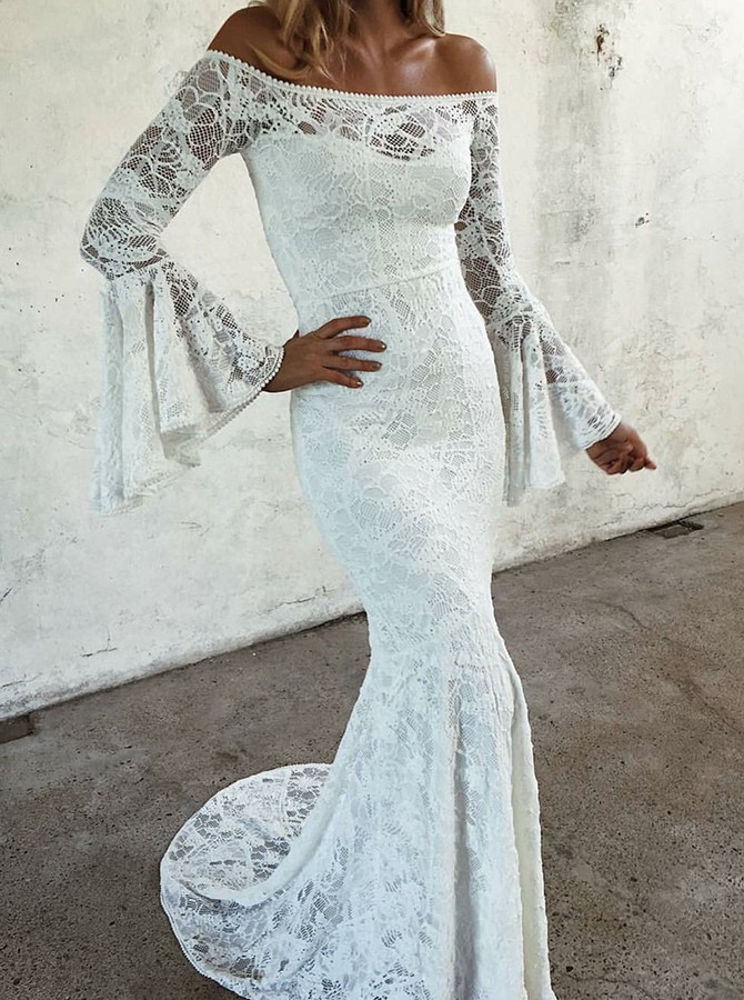 Mermaid Off-the-Shoulder Sweep Train Long Sleeves Lace Wedding Dress
