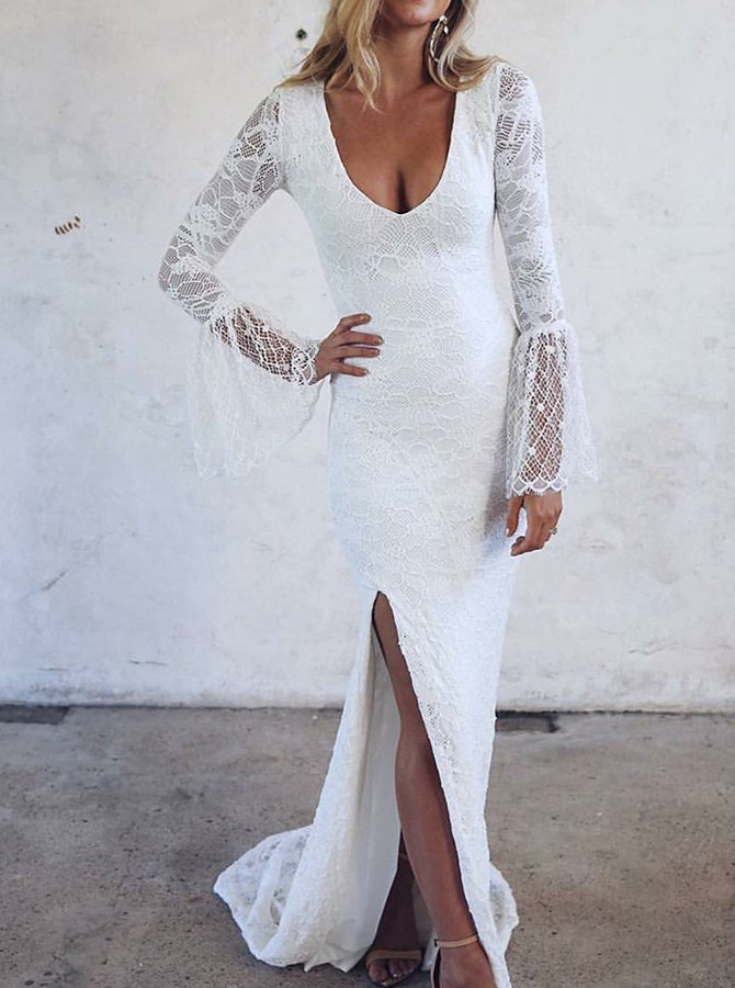 Sheath Scoop Sweep Train Lace Wedding Dress with Long Sleeves Split